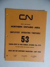 1970 Canadian National Railways Employee Timetable 53 Great Lakes North Ontario