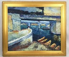 Original Framed Oil Painting After Van Gogh Bridges Over The Seine At Asnieres