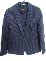 Banana Republic Womens Size 2 Navy Blue Pinstripe One Button Blazer Jacket