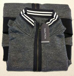 NEW Nautica Mens Medium Grey Blue Zip-up Sweater Jumper NAK635614TN $179.95