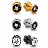 2pcs Cheater Fake Ear Plugs Steel Gauges Illusion Tunnel Piercing Stud Earrings