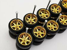 10 set 6 spoke Premium rubber wheels for Hw 1:64 scale cars and other brands