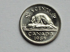Canada 1965 5 CENTS Queen Elizabeth II Nickel Coin UNC