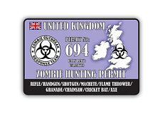 zombie hunting permit uk Car Sticker size 15cm x 10cm