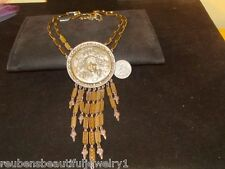 VINTAGE signed GOLDETTE Victorian Revival Figural & Charm Necklace, Massive