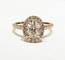 1.60 Ct. Oval Cut Pave Halo Diamond Engagement Ring - GIA CERTIFIED & APPRAISED