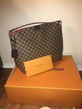Authentic Louis Vuitton Shoulder Tote Bag GRACEFUL MM DAMIER EBENE with Receipt
