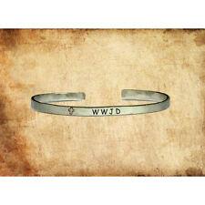 WWJD What Would Jesus Do   Custom Cuff Bracelet Personalized Jewelry Hand Stamp