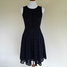 New Anne Klein Dress Navy Blue Black Fit And Flare Dress Knee Length Size US 2