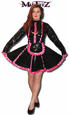 MISFITZ BLACK PVC & HOT PINK SATIN  FRILLY SISSY FRENCH MAIDS DRESS SIZE 22
