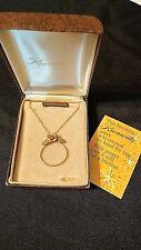 Necklace w Rose in Org Box #8969 Vtg Krementz 14K Gold Overlay Charm Holder