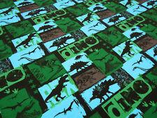 Stoff Baumwolle Jersey Dinos Dinosaurier grün blau türkis braun sw Kinderstoff