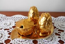 ROYAL WINTON ENGLAND AUTUMN GOLD CRUET SET ON LEAF TRAY C1950s