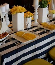 """lovemyfabric Cotton 2 Inch Navy Blue & White Stripes Tablecloth 58""""X120"""" Inch"""