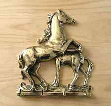 Keyholder, Italian Cast Brass, Horse and Foal Design, 4 Hooks, Polished Finish