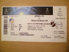 UEFA CHAMPIONS LEAGUE TICKET-ellinon FC V Wisla Cracovia SA, 23 AGOSTO, 2011
