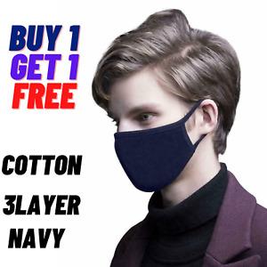 2X Face Mask Black Breathable Cotton Washable Reusable Adult  Navy Size Medium