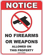 No Firearms Or Weapons Allowed Sign Vinyl Sticker Decal