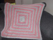 Handmade Crochet Pink/White Baby Blanket Cot/Pram/Moses 29 X 29ins NEW