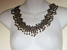 Lee Angel Women's Bead Grosgrain Ribbon Bib Necklace NIP 299 Brown