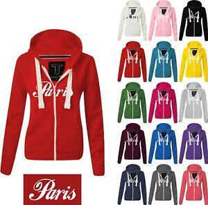 Women Ladies PARIS Zipped hoodie Sweatshirt Top Jumper Jacket Hoody