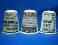 Birchcroft China Thimbles -- Set of Three -- Quilting Thoughts