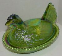 "Vintage Indiana Glass Iridescent Green Glass Chicken Candy Dish +lid 7""x5.5""x5"""