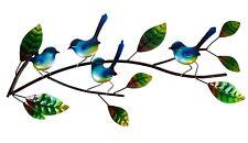 Blue Wren Branch Metal Hanging Wall Art Bird Home Garden Sculpture BIG *68 cm*