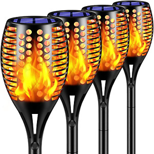 TomCare Solar Lights Upgraded Waterproof Flickering Flames Torches Light Outdoor