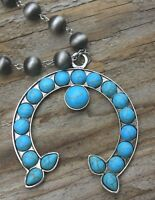 New Gray Navajo Pearl Squash Blossom Turquoise Necklace Cowgirl Gypsy Western