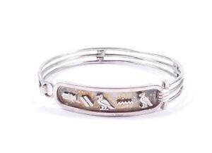 Egyptian Hieroglyphs Bangle Diana 800 Silver Bracelet 16g