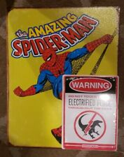 Amazing Spider-Man & Jurassic World Electrified Fence Raptor Warning Metal Signs