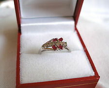 .49 Ct. Ruby & Diamond  14k White Gold Ring