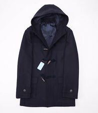 NWT $1995 BATTISTI NAPOLI Navy Blue Wool Toggle-Front Duffle Coat 52/L Italy