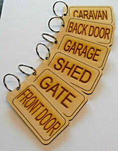 Keyring Personalised Name Garage Shed Caravan Back Door Gate etc Birch
