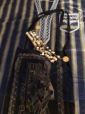 Short Sleeved Blue Women's XL Caftan w/ Egypt bag & decorative veil, costume