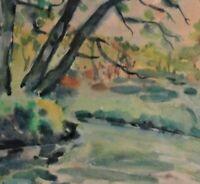 Paul SCHWEMER (1889-1938) Impressives Aquarell: WALDSTÜCK MIT TEICH NAH AM DORF