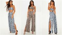 Womens Snake Skin Print Bandeau Crop Top and Split Trousers Co-ord Two Piece Set