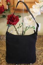 SALVATORE FERRAGAMO Black Canvas Hobo Shoulder Bag (pu160