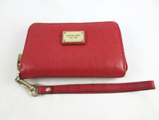 Michael Kors Zip Wallet Apple iPhone 5 Red Ostrich Leather 8158C5 in Box Used