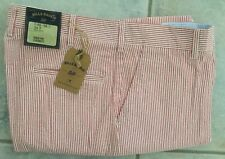 NWT-Bills khakis P-RESS Parker RED SEERSUCKER PLAIN STANDARD SZ 37X30 $165