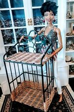 Ooak Barbie size - 1/6 scale metal and wicker baker's rack for diorama display !