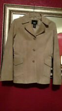 Mossimo Camel Leather Suede Blazer Jacket Button Up Flap Pockets Sz XS