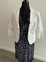 John Rocha Dress Jacket Navy/White Size 14 EU42 US10 Dress with dove pattern