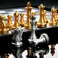32Pcs Medieval Gold Silver Chess Set With High Quality Magnetic Chessboard