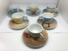 ILLY COLLECTION 2002 MARINA ABRAMOVIC SET OF (5) ESPRESSO CUPS/SAUCER