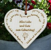 Holz Herz Schild Deko Spruch, GEBURTSTAG, Gravur Laser, Geschenk Familie Freunde