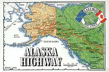 Alaska Highway State Map, Juneau, Anchorage, Fairbanks etc, Canada AK - Postcard