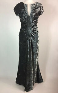 Per Una Grey Crushed Velvet Look Maxi Dress UK 12R Wired Deep V Neck Ruched Prom