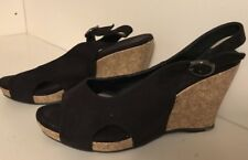 Women's Sahara Ollie Wedge Peep Toe Shoe Black Size 9